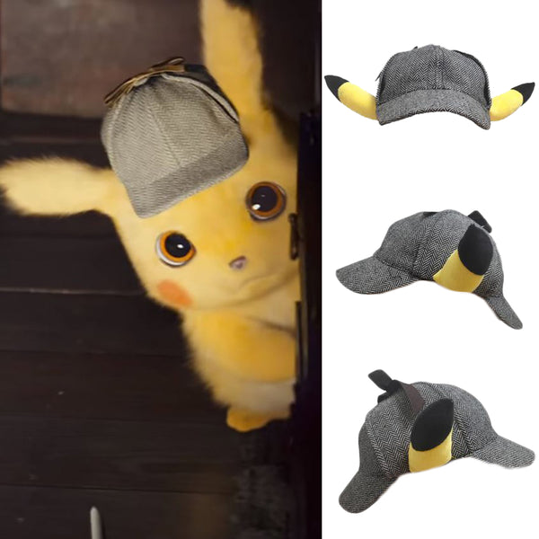 Pokémon Detective Pikachu Grey Cap Detective Hat Dress Up Ear Hat Boys and Girls