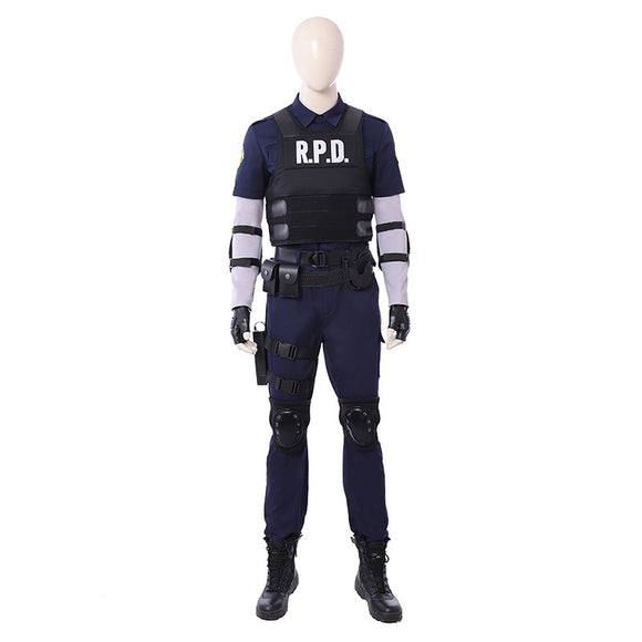 Resident Evil 2 Leon Cosplay Costume Whloe Set for Men Cosplay