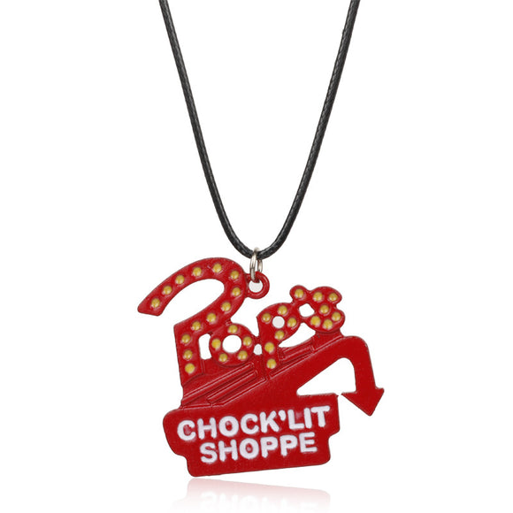 Riverdale Pop's Chock'lit Shoppe Necklace Metal Pendant Leather Rope Chain