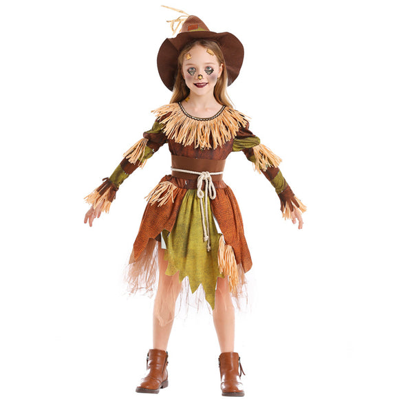 Scarecrow One Piece Dress Halloween Costume for Kids