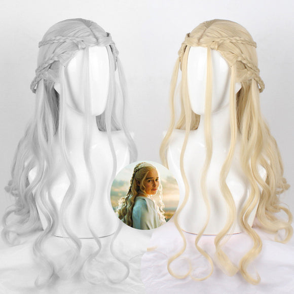 Season 8 A Song of Ice and Fire Daenerys Targaryen Wig Cosplay Long Curly Hair Wig Cosplay