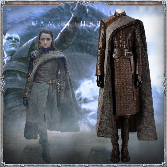 Season 8 Game of Thrones Arya Stark Cosplay Costume for Women GOT Halloween Cosplay