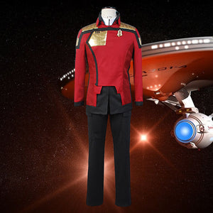 Captain Cospaly Costume Red Uniform Men Women