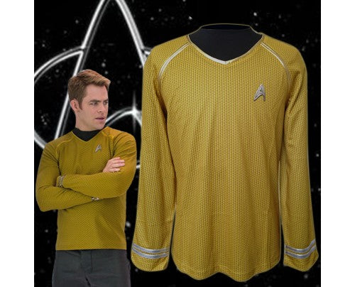 Kirk Cosplay Costume Captain Yellow Shirt Long Sleeves