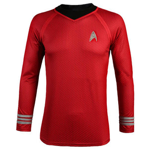 Spock Cosplay Costume Red Shirt Long Sleeve Halloween Cosplay