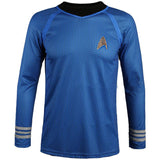 Spock Cosplay Costume Blue Shirt Long Sleeve Halloween Cosplay
