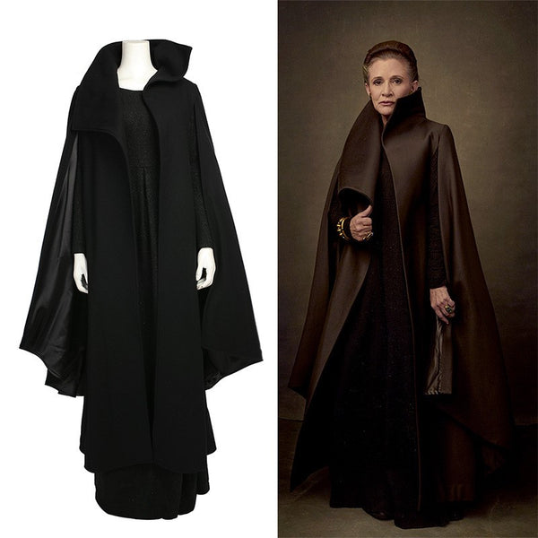 Star Wars 8 Leia Black Dress Cosplay Costume Adult for Women Halloween Cosplay