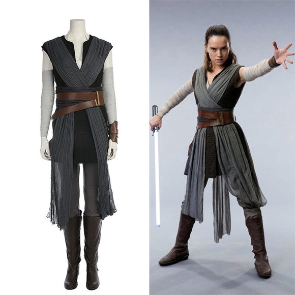 Star Wars 8 The Last Jedi Rey Cosplay Costume Halloween Cosplay Whole Set
