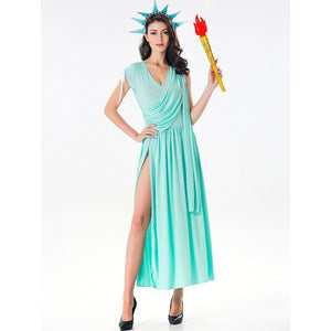 Statue of Liberty Dress Blue Long Sleeve Cosplay Costume Outfits