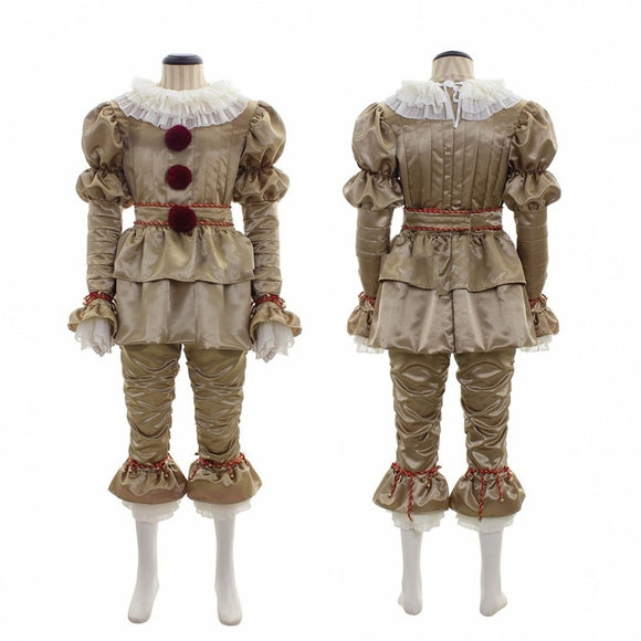 Stephen King's It Pennywise Cosplay Costume Dress Up Golden Costume Suit-No Shoes Halloween Cosplay Adults