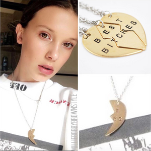 Stranger Things Millie Eleven's Best Bitches 3 Part Heart Necklace Two Colors