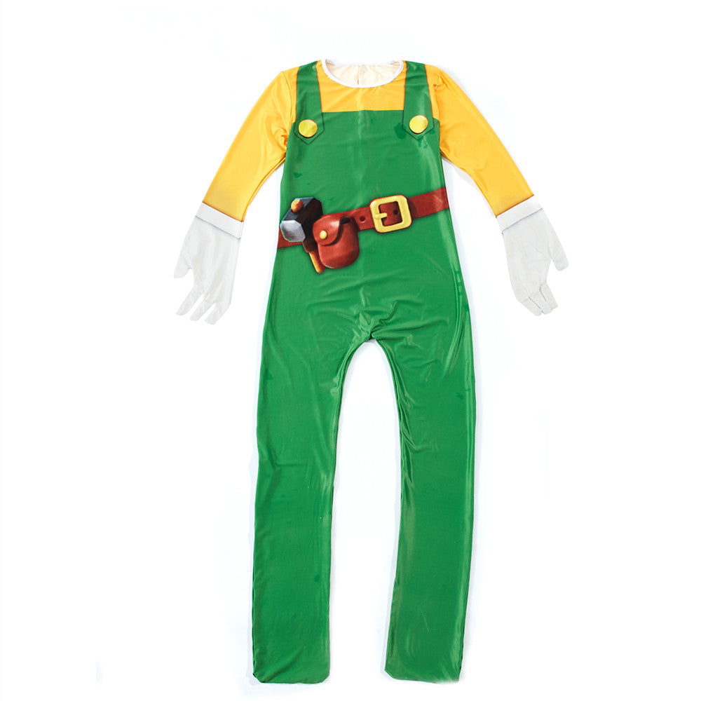 Super Mario Maker 2 Luigi Costume Cosplay Jumpsuit Bodysuit For