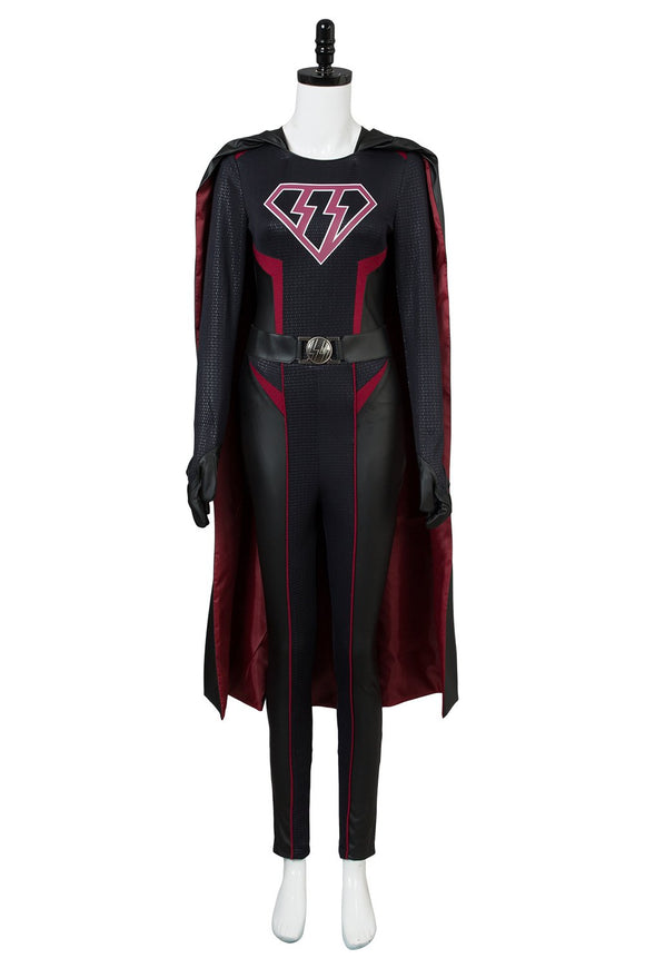 Supergirl Kara Zor El Danvers Costume Jumpsuit Cape Halloween Cosplay