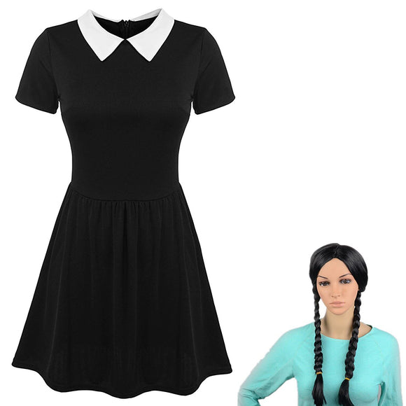 The Addams Family Wednesday Cosplay Costume Dress and Cosplay Wig Halloween Cosplay