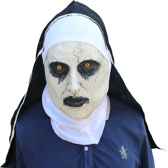 The Nun Mask with Hood for Adult Scary Horrible Halloween Mask