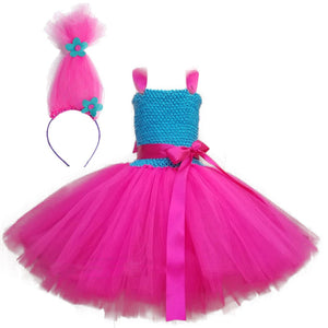 Trolls Poppy Princess Costume Tulle Dress for Girls