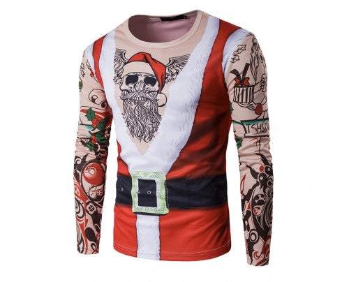Ugly Christmas Tattoo Sweatshirt 3D T-shirts Long Sleeve Santa Suit with Tattoos Shirt