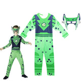 Wild kratts Jumpsuit Cospaly Halloween Cosplay Child Costume Green Cheetah