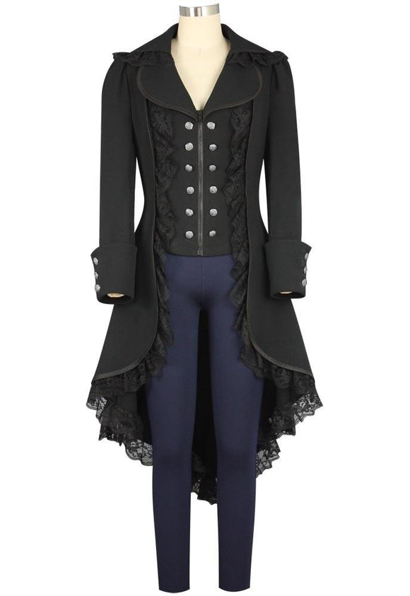 Womens Steampunk Vintage Tailcoat Jacket Gothic Victorian Halloween Costume Coat