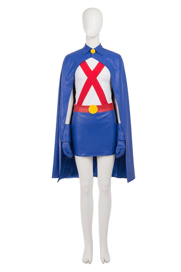 Young Justice Miss Martian Cosplay Costume Halloween Cosplay Blue Costume