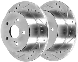 AutoShack PR41314LR Rear Drilled and Slotted Brake Rotor Pair 2 Pieces Fits Driver and Passenger Side