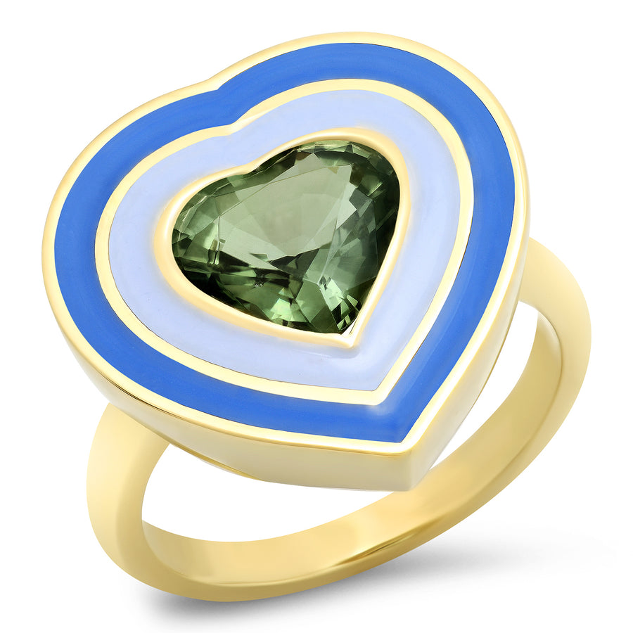 Bardot Heart Enamel Ring - Tourmaline
