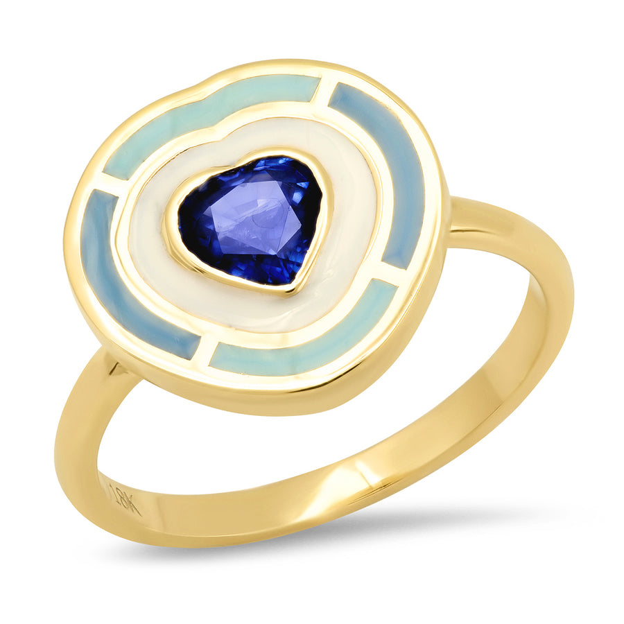Fontaine Heart Enamel Ring - Blue Sapphire