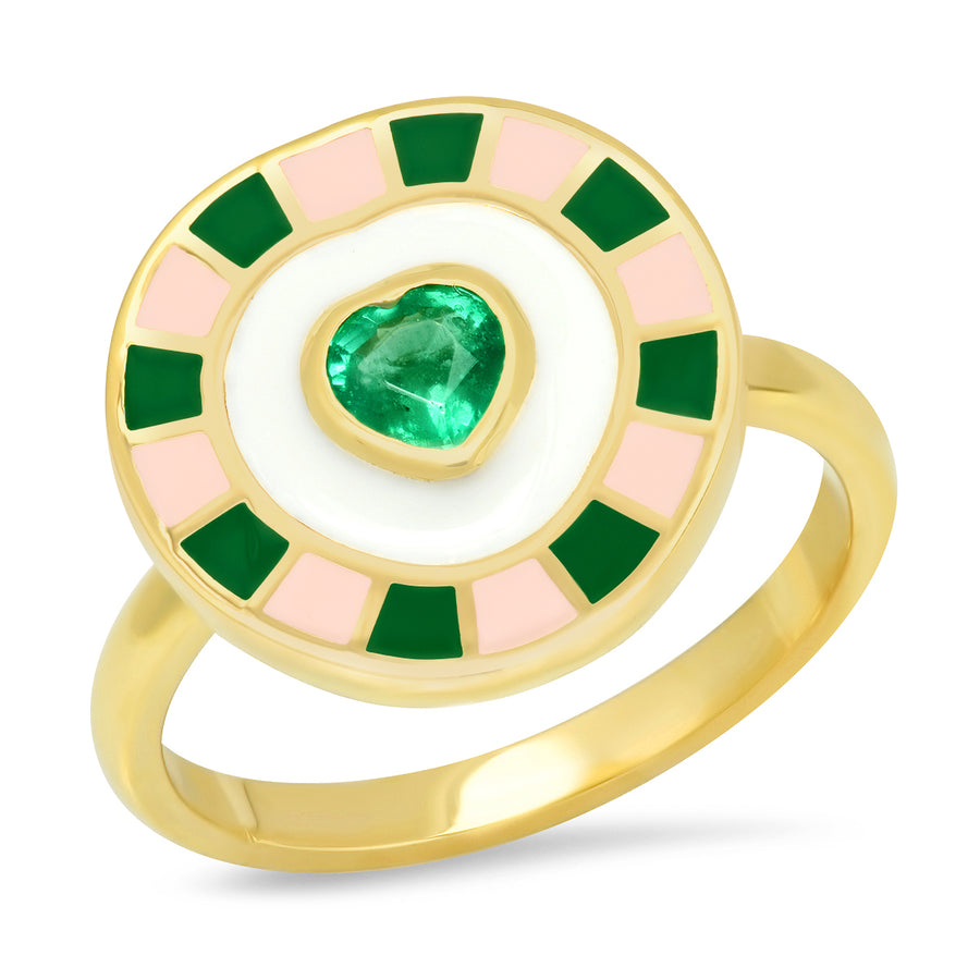 Fontaine Heart Enamel Ring - Emerald