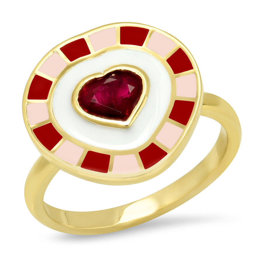 Fontaine Heart Enamel Ring - Ruby