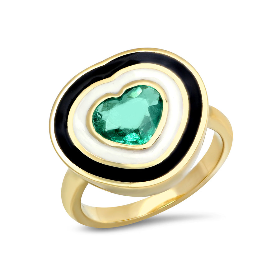 Bardot Heart Enamel Ring - Emerald