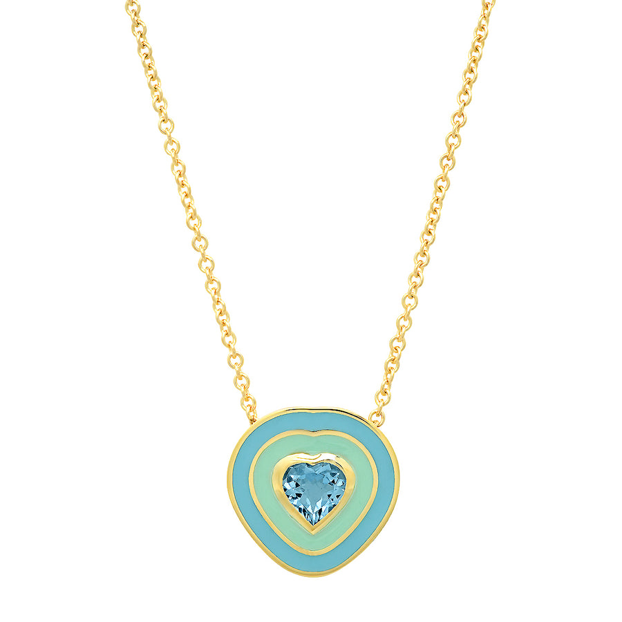 Dandridge Heart Enamel Necklace - Aquamarine