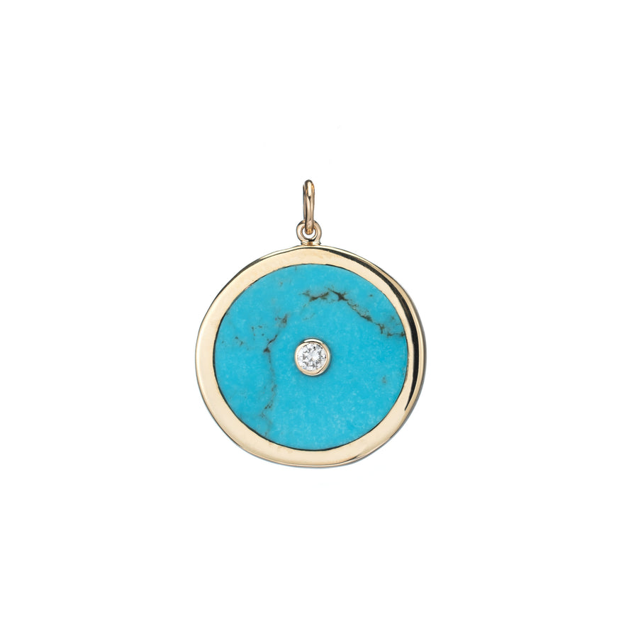 Large Turquoise and Diamond Round Charm