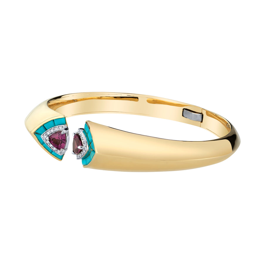 Open Cuff - Turquoise and Garnet - Jo Latham