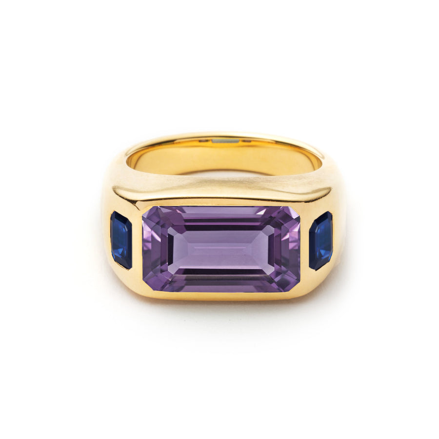 Emerald Cut Three Stone Gypsy Ring - Amethyst and Blue Sapphire