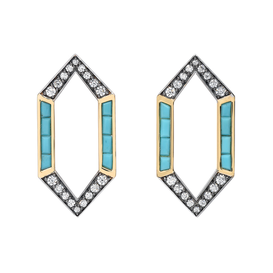 Turquoise Open Hex Earrings - Jo Latham