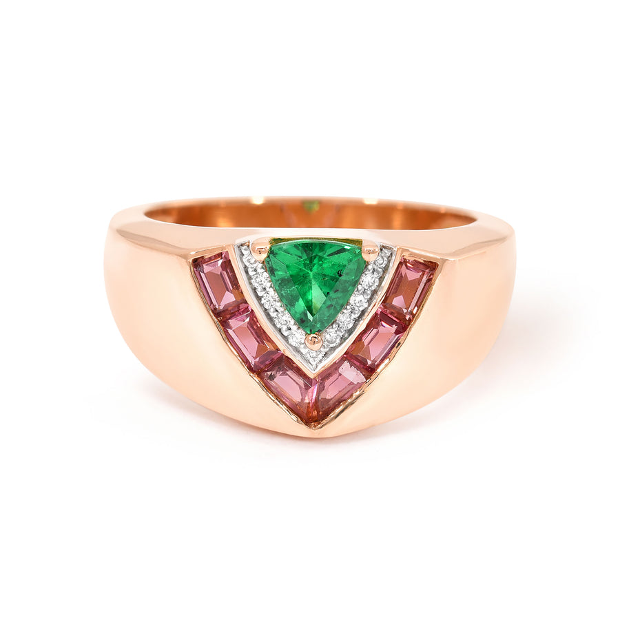 Tiered Signet Ring - Green Tourmaline - Jo Latham