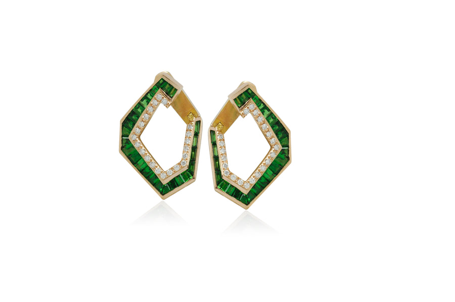 Medium Tsavorite Garnet Origami Earrings - Jo Latham