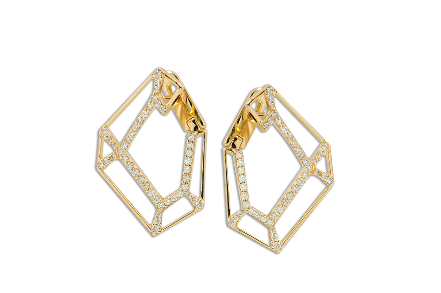 Origami Link no. 5 Skeleton Diamond Earring - Jo Latham