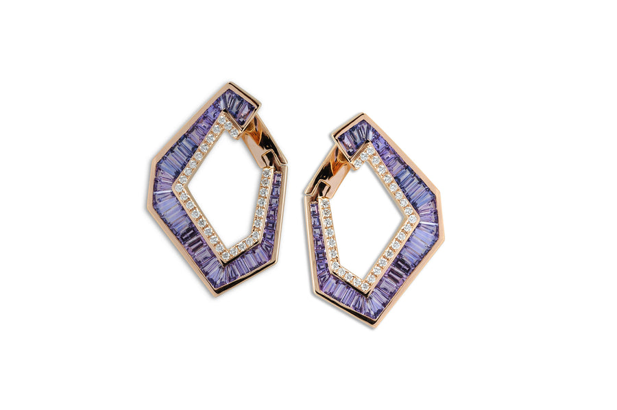 Origami Purple Sapphire and Diamond Earring - Grande - Jo Latham