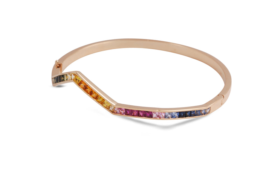 Rainbow Baguette Ziggy Bangle - Jo Latham