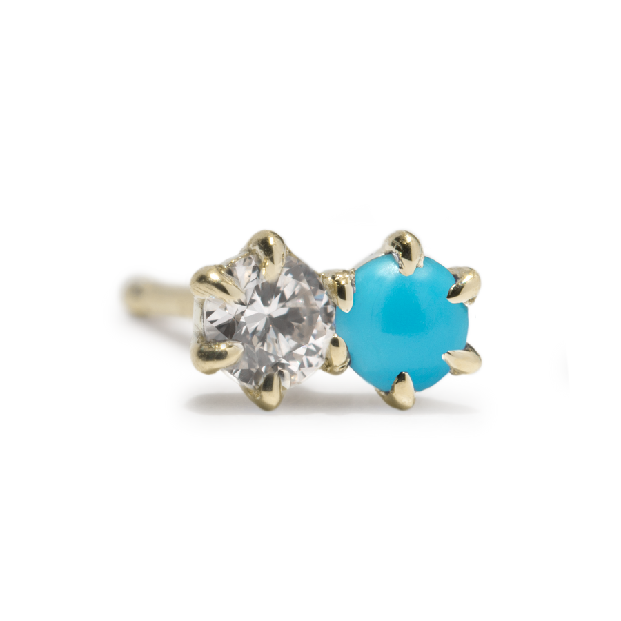 Duo Stud - Turquoise and Diamond - SINGLE - Jo Latham