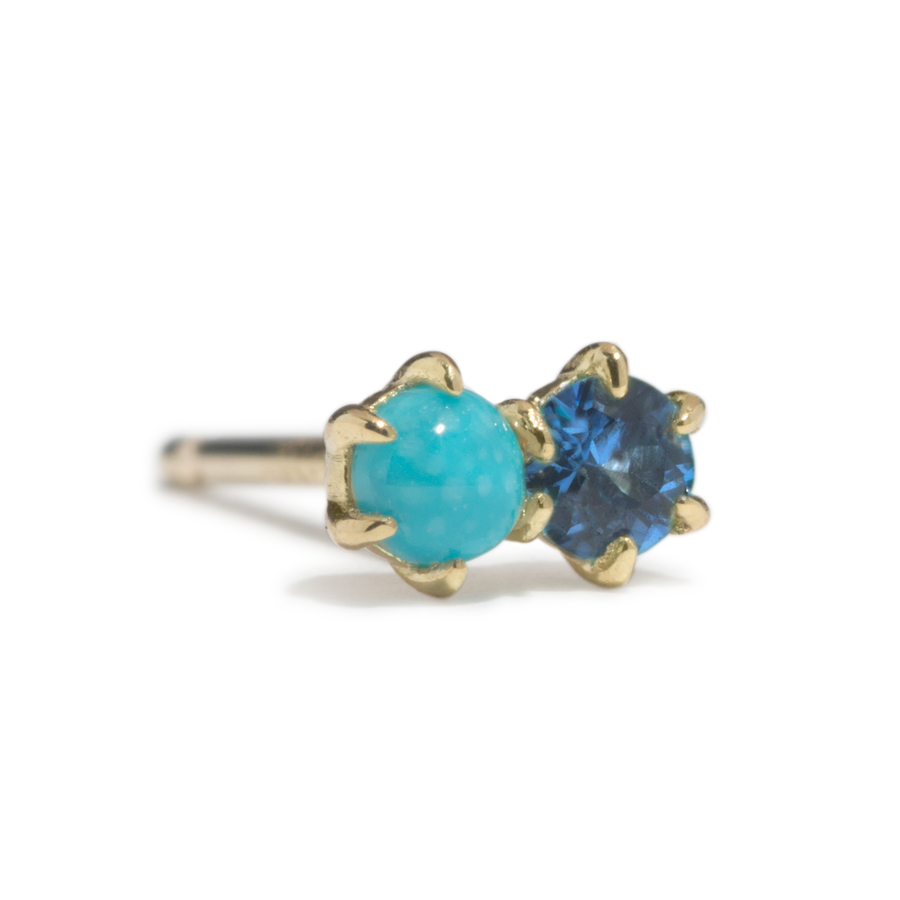 Duo Stud - Turquoise and Blue Sapphire - SINGLE - Jo Latham
