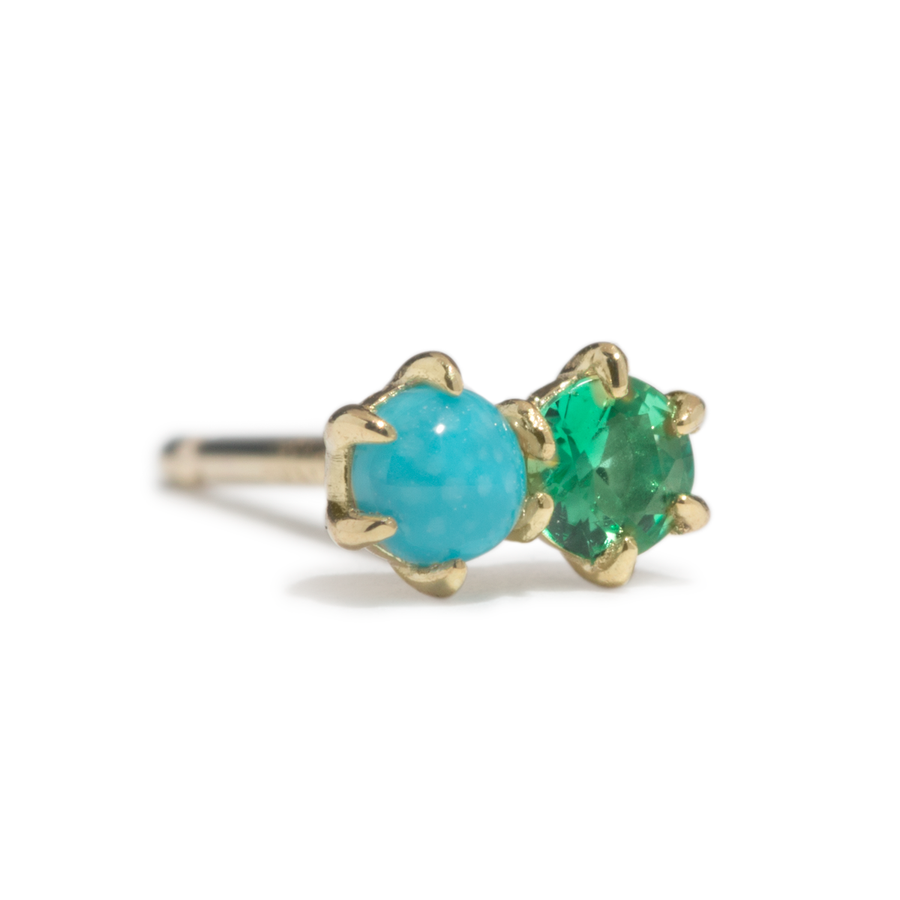 Duo Stud - Turquoise and Emerald - SINGLE - Jo Latham
