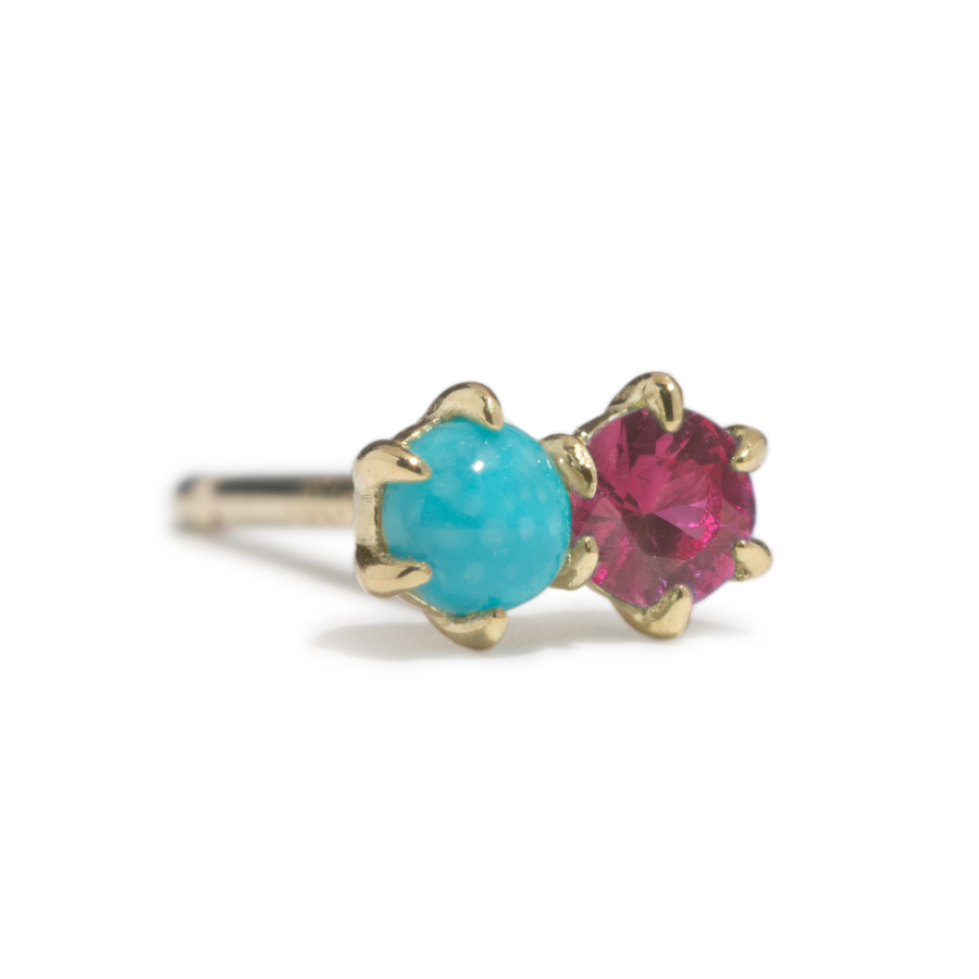 Duo Stud - Turquoise and Ruby - SINGLE - Jo Latham