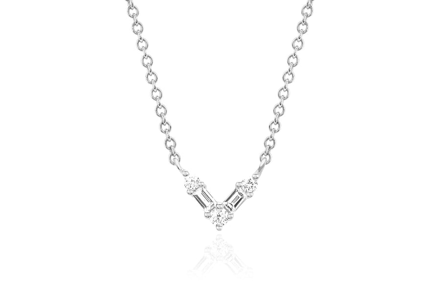 Diamond Baguette Mini Chevron Necklace - Jo Latham