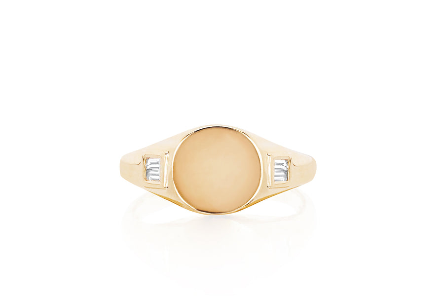 Diamond Baguette Signet Ring - Jo Latham