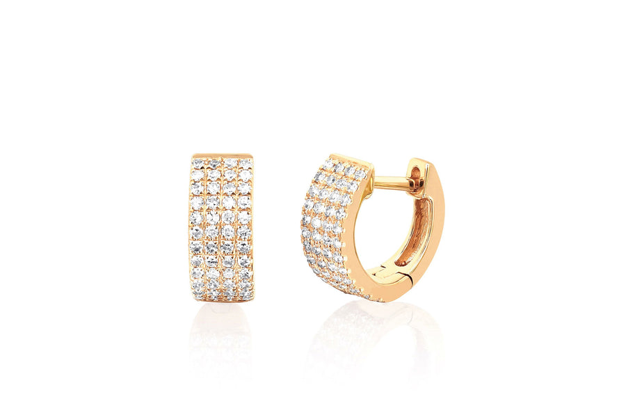 Jumbo Mini Diamond Pave Huggie Earrings - Jo Latham