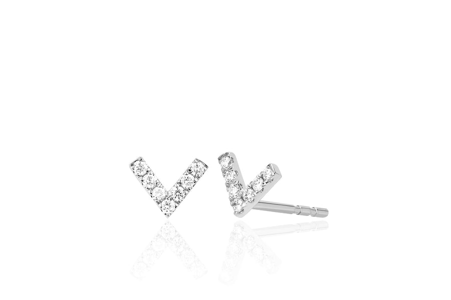 Mini Diamond Chevron Studs - Jo Latham