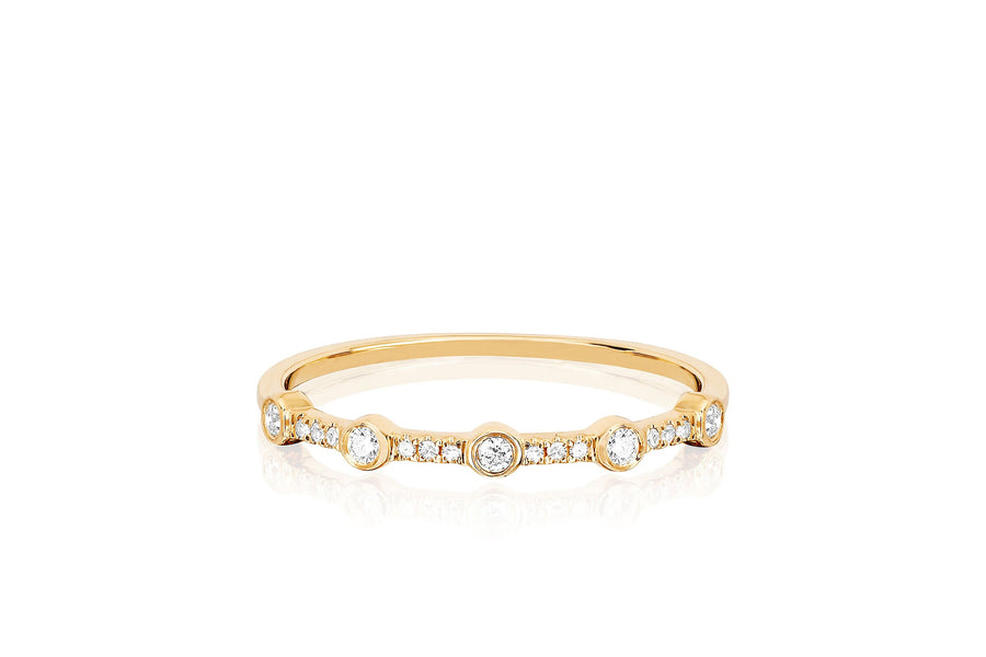 5-Diamond Bezel Stack Ring - Jo Latham