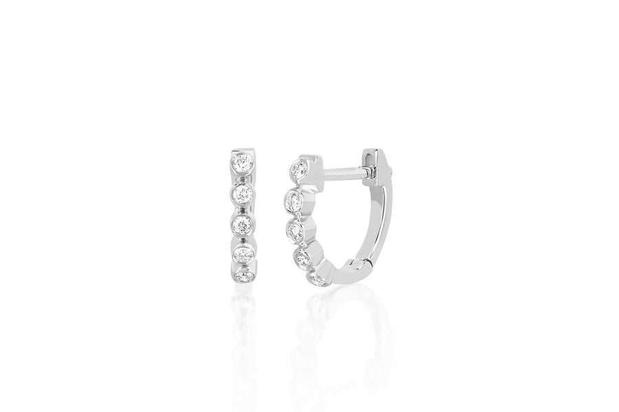 Diamond Mini Bezel Huggie Earring - Jo Latham